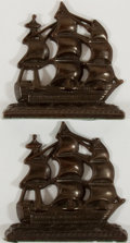 """Books:Prints & Leaves, [Bookends] Pair of Patinated Solid Metal Bookends Depicting Ships.Both 5.5"""" x 5.5"""" x 2"""". Felt bottoms. Light layer of dust....(Total: 2 Items)"""