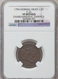 Half Cents, 1794 1/2 C Normal Head -- Environmental Damage -- NGC Details. VF.C-2a. NGC Census: (10/120). PCGS Population (27/224). M...