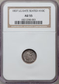 Seated Half Dimes: , 1837 H10C No Stars, Large Date (Curl Top 1) AU55 NGC. NGC Census:(47/849). PCGS Population (66/546). Mintage: 1,405,000. N...