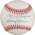 "Baseball Collectibles:Balls, Harvey Kuenn ""1982 A.L. Championship"" Single Signed Baseball...."
