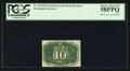 Fractional Currency:Second Issue, Fr. 1244SP 10¢ Second Issue Narrow Margin Back PCGS Choice About New 58PPQ.. ...