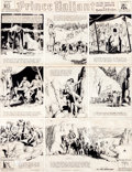 Original Comic Art:Comic Strip Art, Hal Foster Prince Valiant Sunday Comic Strip #136 OriginalArt dated 9-17-39 (King Features Syndicate, 1939).... (Total: 2Items)