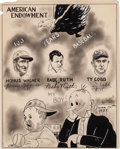 Autographs:Others, 1939 Honus Wagner, Babe Ruth & Ty Cobb Signed Original Artwork....