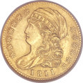 Early Half Eagles, 1811 $5 Small 5 MS61 NGC. BD-2, R.3....