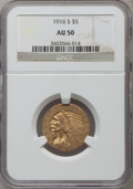 Indian Half Eagles: , 1916-S $5 AU50 NGC. NGC Census: (21/1849). PCGS Population(53/1249). Mintage: 240,000. Numismedia Wsl. Price for problem f...