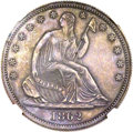 Patterns, 1862 50C Half Dollar, Judd-296, Pollock-354, High R.6, PR64 Brown NGC....