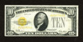 Small Size:Gold Certificates, Fr. 2400 $10 1928 Gold Certificate. Very Fine.. A little bit of a purple teller stamp is seen on both the face and back of t...