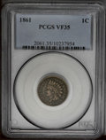 Indian Cents: , 1861 1C VF35 PCGS. PCGS Population (2/872). NGC Census: (3/626).Mintage: 10,100,000. Numismedia Wsl. Price: $63. (#2061)...