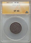 Half Cents: , 1810 1/2 C VF30 ANACS. NGC Census: (4/61). PCGS Population (6/82).Mintage: 215,000. Numismedia Wsl. Price for problem free...
