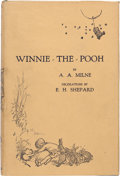 Books:Children's Books, A.A. Milne. Winnie-the-Pooh. London: Methuen & Co.,Ltd., [1926]. First trade edition. Small octavo. [xvi], [160] pa...