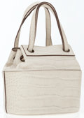 Luxury Accessories:Bags, Alaia Bone Crocodile Pressed Leather Small Tote Bag . ...