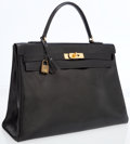 Luxury Accessories:Accessories, Hermes 35cm Black Calf Box Leather Retourne Kelly Bag with GoldHardware. ...