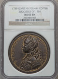 Betts Medals, Betts-418. 1759 British-American Victories. Brass. MS63 NGC....