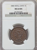 Large Cents: , 1846 1C Small Date MS64 Brown NGC. NGC Census: (63/46). PCGS Population (29/4). Mintage: 4,120,800. Numismedia Wsl. Price f...