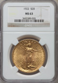 Saint-Gaudens Double Eagles: , 1922 $20 MS63 NGC. NGC Census: (20554/8283). PCGS Population(14323/8704). Mintage: 1,375,500. Numismedia Wsl. Price for pr...