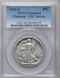 Walking Liberty Half Dollars, 1916-D 50C -- Cleaned -- PCGS Genuine. Unc Details. NGC Census:(5/1082). PCGS Population (18/1348). Mintage: 1,014,400. Nu...