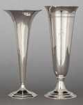 Silver & Vertu:Hollowware, A TIFFANY & CO. SILVER FLUTED TRUMPET VASE AND SILVER BANDED TRUMPET VASE . Tiffany & Co., New York, New York, circa 1912-19... (Total: 2 Items)