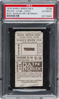 Baseball Collectibles:Tickets, 1918 World Series Game Four Ticket Stub--One of Two Known!...