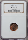Roosevelt Dimes: , 1946 10C MS67 ★ Full Bands NGC. NGC Census: (51/2). PCGS Population (39/1). Mintage: 255,250,...