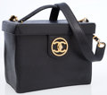 Luxury Accessories:Travel/Trunks, Chanel Black Caviar Leather Train Case with Shoulder Strap. ...