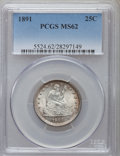 Seated Quarters: , 1891 25C MS62 PCGS. PCGS Population (87/386). NGC Census: (78/377).Mintage: 3,920,600. Numismedia Wsl. Price for problem f...