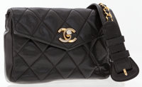 Chanel Black Quilted Lambskin Leather Belt Bag with Gold Hardware