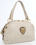 Luxury Accessories:Bags, Gucci Beige Guccissima Embossed Monogram Leather Bowling Bag withGold Heart Crest. ...