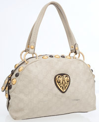 Gucci Beige Guccissima Embossed Monogram Leather Bowling Bag with Gold Heart Crest