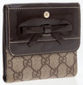 Luxury Accessories:Accessories, Gucci Brown Patent Leather & Waxed Classic Monogram Canvas Bifold Wallet. ...