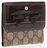 Gucci Brown Patent Leather & Waxed Classic Monogram Canvas Bifold Wallet