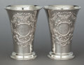 Silver Holloware, American:Vases, A PAIR OF DURGIN SILVER VASES. Wm. B. Durgin Co., Concord, NewHampshire, circa 1890. Marks: (D within clover), STERLING, 15...(Total: 2 Items)
