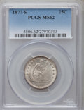 Seated Quarters: , 1877-S 25C MS62 PCGS. PCGS Population (52/211). NGC Census:(41/193). Mintage: 8,996,000. Numismedia Wsl. Price for problem...