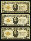 Small Size:Gold Certificates, Fr. 2402 $20 1928 Gold Certificates. Three Examples. Fine-Very Fine or Better.. ... (Total: 3 notes)