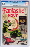 Silver Age (1956-1969):Superhero, Fantastic Four #1 (Marvel, 1961) CGC VG 4.0 White pages....