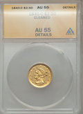 Liberty Quarter Eagles, 1840-C $2 1/2 -- Cleaned -- ANACS. AU55 Details. Variety 1....