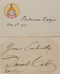 Autographs:Artists, [Palmer Cox and Darius Cobb]. Two Artist Signed Cards.... (Total: 2Items)
