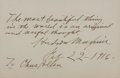 """Autographs:Inventors, Hudson Maxim Inscribed Card Signed. 5"""" x 3.25, February 22, 1916.Maxim (1853-1927) was an American inventor and chemist cre..."""
