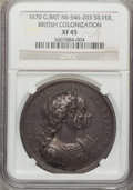 Betts Medals, Betts-44. 1670 British Colonization. Silver. XF45 NGC....