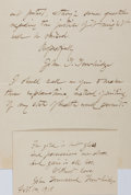 "Autographs:Authors, John T. Trowbridge Autograph Letter and Quotation Signed. Theletter is three integral pages, 5"" x 6.5"", Arlington [Massachu...(Total: 2 Items)"
