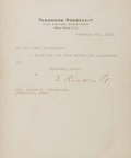 "Autographs:U.S. Presidents, Theodore Roosevelt Typed Letter Signed ""T. Roosevelt."" Onepage, 6.5"" x 7.5"", on his personal letterhead, New York, Febr..."