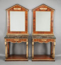Furniture : Continental, A PAIR OF FRENCH EMPIRE-STYLE MAHOGANY MIRROR BACK CONSOLE TABLESWITH EGYPTIAN DETAIL. Circa 1900. 37 x 36 x 18-1/2 inches ...(Total: 2 Items)
