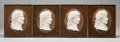 Decorative Arts, Continental:Other , FOUR ITALIAN CARVED MARBLE FRAMED PORTRAIT PLAQUES OF EMPERORS INPROFILE. Late 19th century. 16-3/4 inches high x 13 inches...(Total: 4 Items)
