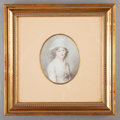 Fine Art - Painting, European:Antique  (Pre 1900), FRENCH SCHOOL (Early 19th Century). Portrait of Marianne MalletLe Fort. Watercolor on paper laid on card. 2-3/4 inches ...