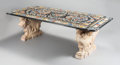 Furniture , A NEOCLASSICAL-STYLE TABLE WITH SPECIMEN MARBLE TOP ON CARVED MARBLE FIGURAL SUPPORTS. 20th century. 31 x 96 x 48 inches (78...