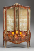 Furniture : French, A LOUIS XV-STYLE VERNIS MARTIN MAHOGANY AND SATINWOOD PAINTED ANDGILT BRONZE MOUNTED VITRINE. 20th century. Signed to panel...(Total: 2 Items)
