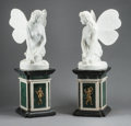 Decorative Arts, Continental, A PAIR OF ITALIAN MARBLE WINGED NYMPHS SEATED ON MARBLE PEDESTALS.Early 20th century. 37 x 24 x 28 inches (94.0 x 61.0 x 71...(Total: 2 Items)