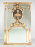 Decorative Arts, French, A FRENCH LOUIS XV-STYLE CARVED GILT WOOD MIRROR WITH PAINTEDPORTRAIT . Circa 1900. 96 inches high x 59 inches wide (243.8 x...