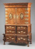 Furniture : Continental, A CONTINENTAL WALNUT FITTED CABINET ON CHEST WITH GILT BRONZE MOUNTS. 19th century. 70-1/4 x 48 x 25 inches (178.4 x 121.9 x...