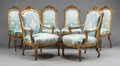 Furniture , SIX LOUIS XVI-STYLE CARVED GILT WOOD AND UPHOLSTERED CHAIRS. Circa 1890. 40 x 25-1/2 x 22 inches (101.6 x 64.8 x 55.9 cm) (a... (Total: 6 Items)