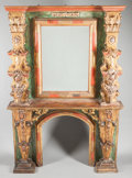 Furniture : Continental, A SPANISH BAROQUE-STYLE PAINTED AND PARCEL GILT FIREPLACE SURROUND WITH MIRROR. 19th century in part. 101-1/2 x 68 x 12 inch...